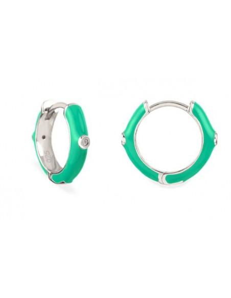 Pendientes Aro y Esmalte Verde Claro con Circonitas