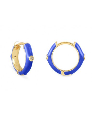 Pendientes Aro y Esmalte Azul Cian con Circonitas