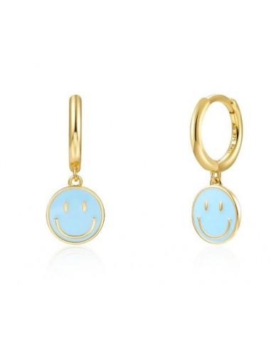 Pendientes Aro y Smile Azul