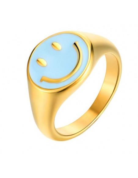 Anillo Smile Azul Oro