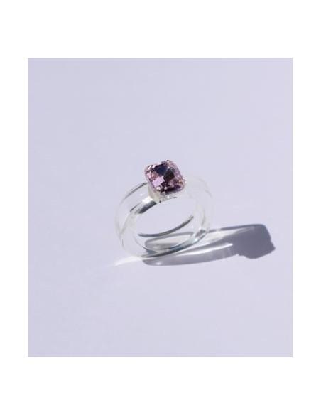 Anillo Resina Transparente y Color Zafiro Rosa