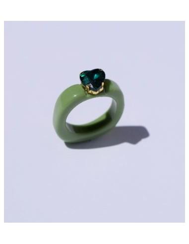 Anillo Resina Verde y Corazón Color...