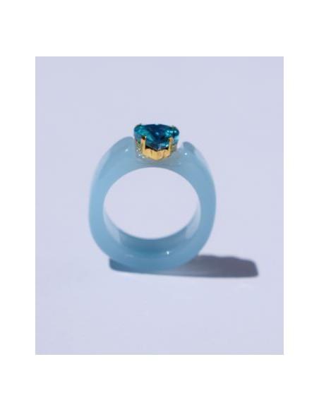 Anillo Resina Azul y Corazón Color Aguamarina