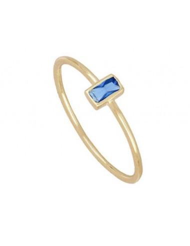 Anillo Circonita Azul Talla Baguette Oro