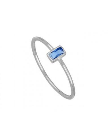Anillo Circonita Azul Talla Baguette...