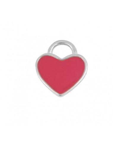 Charm Colgante Corazón Rosa Plata