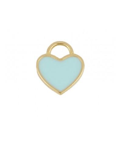 Charm Colgante Corazón Azul Oro