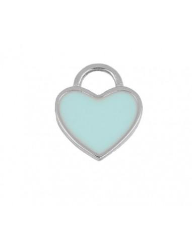 Charm Colgante Corazón Azul Plata