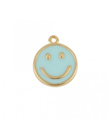 Charm Colgante Smile Azul Oro