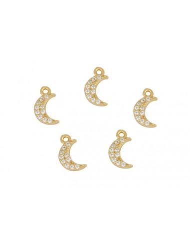Charm Colgante Luna con Circonitas Oro