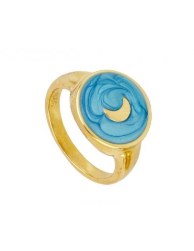 Anillo Luna y Esmalte Azul Oro