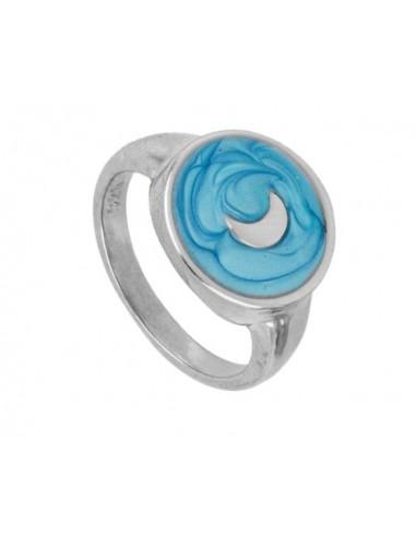 Anillo Luna y Esmalte Azul Plata