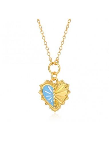 Collar Corazón Esmalte Azul Oro