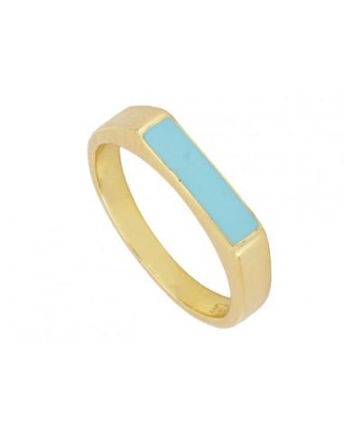 Anillo Sello Rectangular Azul Oro