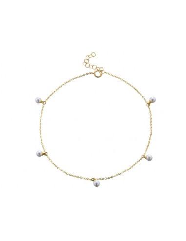 Tobillera Cadena y 5 Perlas Oro