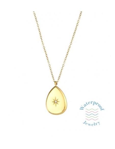 Collar Waterproof Colgante Lágrima y Estrella con Circonita