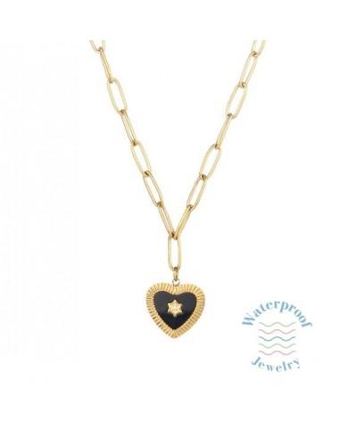 Collar Waterproof Eslabones Rectangulares y Corazón