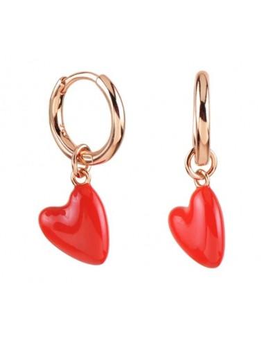 Pendientes Aro y Corazón Esmalte Rojo Oro Rosa