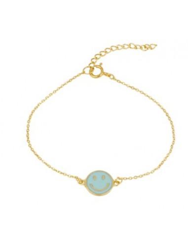 Pulsera Medalla Smile Azul Oro