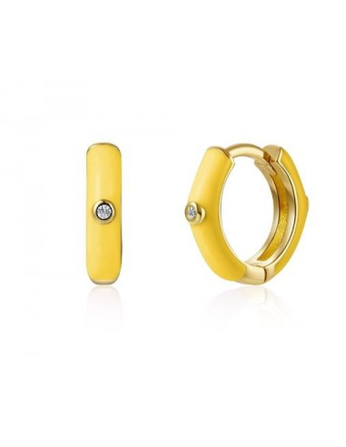 Pendientes Aro y Esmalte Amarillo Claro con Circonitas