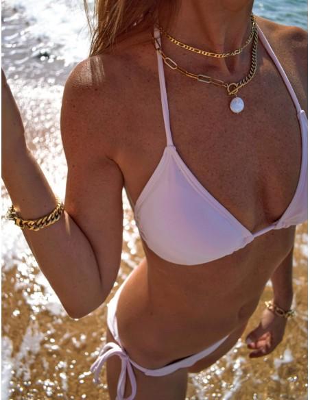 Collar Waterproof Dos Cadenas, Cierre Palanca y Perla