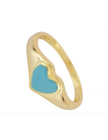 Anillo Sello Corazón Azul Oro