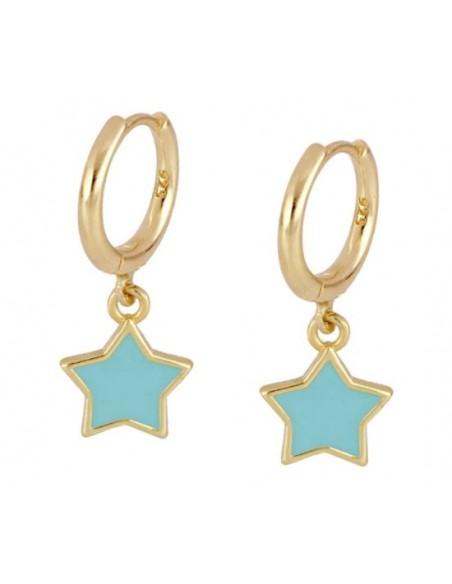Pendientes Aro y Estrella Esmalte Azul Oro