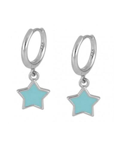 Pendientes Aro y Estrella Esmalte Azul Plata