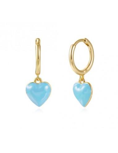 Pendientes Aro y Corazón Esmalte Azul