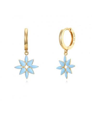 Pendientes Aro y Flor Esmalte Azul