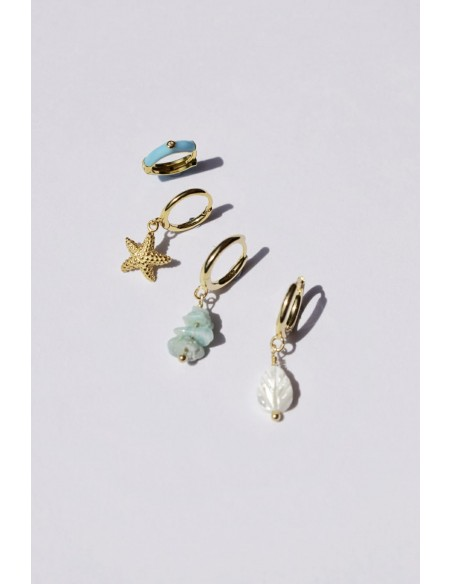 Pendientes Aro y Esmalte Azul Claro con Circonitas