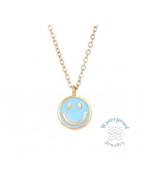 Colgante Waterproof Smile Azul Oro