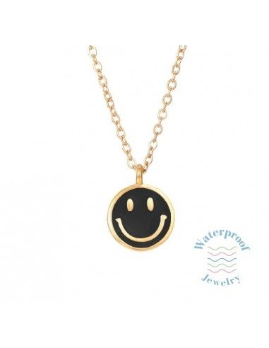Colgante Waterproof Smile Negro Oro