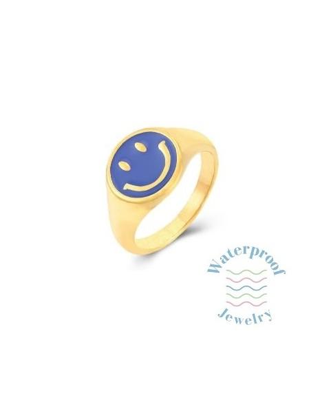 Anillo Smile Azul Cian Oro