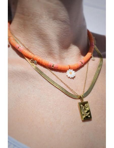 Collar Colores Margarita, Circonitas y Charms Calcedonia Rosa