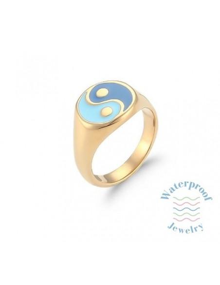 Anillo Waterproof Ying Yang Azules