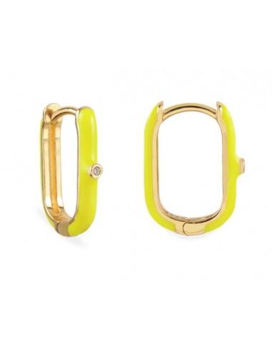 Pendientes Aro Ovalado Esmalte Amarillo con Circonita Oro