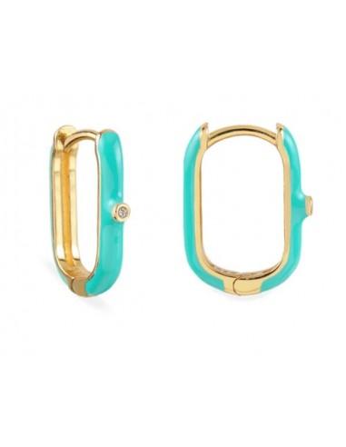 Pendientes Aro Ovalado Esmalte Azul Turquesa con Circonita Oro