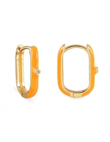Pendientes Aro Ovalado Esmalte Naranja con Circonita Oro