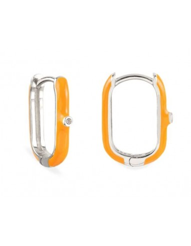 Pendientes Aro Ovalado Esmalte Naranja con Circonita Plata