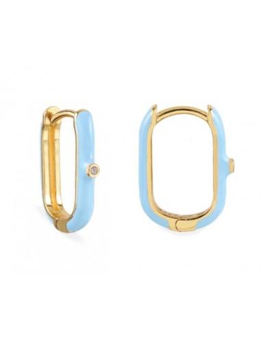 Pendientes Aro Ovalado Esmalte Azul Claro con Circonita Oro