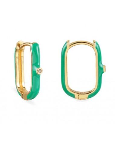 Pendientes Aro Ovalado Esmalte Verde Claro con Circonita Oro