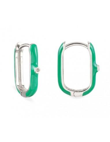 Pendientes Aro Ovalado Esmalte Verde Claro con Circonita Plata