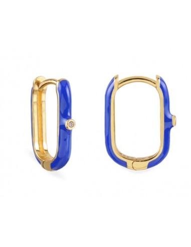 Pendientes Aro Ovalado Esmalte Azul Cian con Circonita Oro