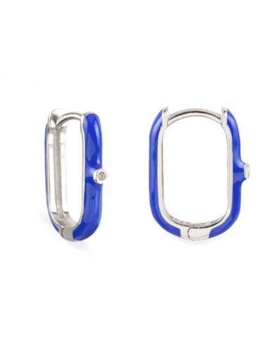 Pendientes Aro Ovalado Esmalte Azul Cian con Circonita Plata