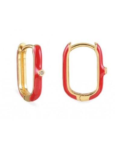 Pendiente Aro Ovalado Esmalte Rojo con Circonita Oro