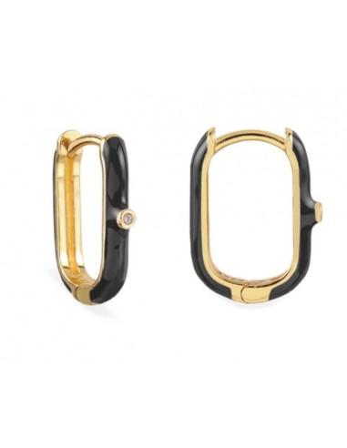 Pendientes Aro Ovalado Esmalte Negro con Circonita Oro