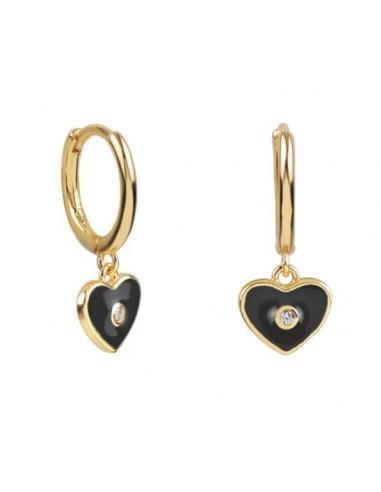 Pendientes Aro y Charm Corazón Esmalte Negro con Circonita Oro