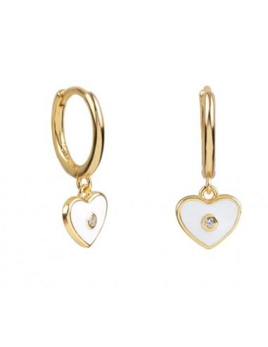 Pendientes Aro y Charm Corazón Esmalte Blanco con Circonita Oro