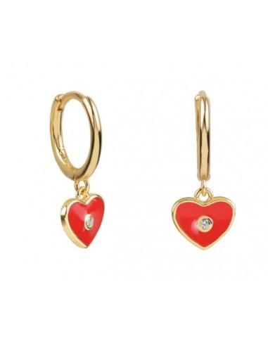 Pendientes Aro y Charm Corazón Esmalte Rojo con Circonita Oro